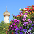 Basket with multicolored petunias, traditional german church spire — Stock Photo