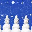 Christmas Card Snowmen  — Stock Photo