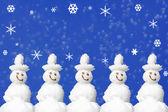 Cartolina di natale pupazzi di neve — Foto Stock