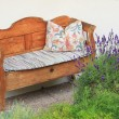 Hand crafted wooden settee, vintage style, bavarian furniture — Stock Photo