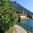 Seaside promenade of garda lake, gargnano village, italy — Stock Photo