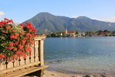 Balcony with Geranium and view to wallberg and tegernsee, bavaria — Stock Photo