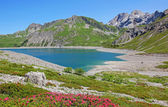 Accumulation lake lunersee and tirolean alps, austria — Stock Photo