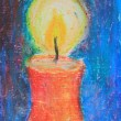 Christmas candle, hand-painted with oil crayons — Stock Photo