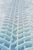 Imprint of a truck tire in snow — Stock Photo