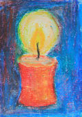 Christmas candle, hand-painted with oil crayons — Stockfoto