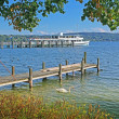Stock Photo: View to starnberger see, boardwalk and steamboat