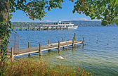 View to starnberger see, boardwalk and steamboat — Stock Photo