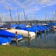 Covered sailing boats in the harbor, starnberger see, germany — Stock Photo #34126189
