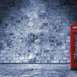 Nightly scenery in the streets of london, with phone box and cat — Stock Photo