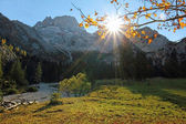 Karwendel valley with bright sunshine — Stock Photo