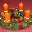 Homemade advent wreath in warm colors — Stock Photo