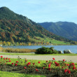 Picturesque lakeside promenade, lake schliersee, with benches — Stock Photo