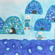 Childrens watercolor painting: group of eskimos with iglus — Stok fotoğraf