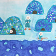 Childrens watercolor painting: group of eskimos with iglus — Stock Photo