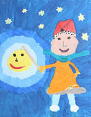 Childrens watercolor painting: girl with lantern on martinmas day — Stockfoto