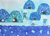 Childrens watercolor painting: group of eskimos with iglus — Photo