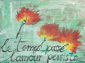 Red poppy flowers - hand painted acrylic with French aphorism — Stock Photo