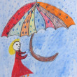 Childrens painting - girl with umbrella in the rain — Stock Photo #35650021
