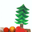 Stock Photo: Christmas decoration with baubles, children fretwork - christmas tree and felt heart