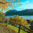 Beautiful panoramic view to schliersee village in autumn — Stock Photo