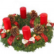 Handmade advent wreath with red ribbon and golden glittering con — Stok fotoğraf