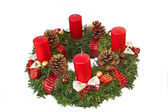 Handmade advent wreath with red ribbon and golden glittering con — Stock Photo
