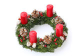 Advent wreath with red candles, natural decoration — Foto Stock