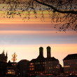 Munich city scape - sunset scenery — Stockfoto #38422439