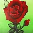 Stock Photo: Acrylic painting of red rose on green background