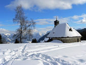 Snow scape with little chapel, austria — Stock Photo