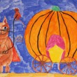 Puss in Boots with pumpkin carriage, fairy tale, child painting — Stok fotoğraf