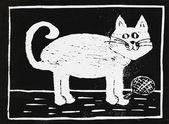 Playing cat and wool, lino cut, children artwork — Stockfoto