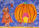 Puss in Boots with pumpkin carriage, fairy tale, child painting — Stock Photo