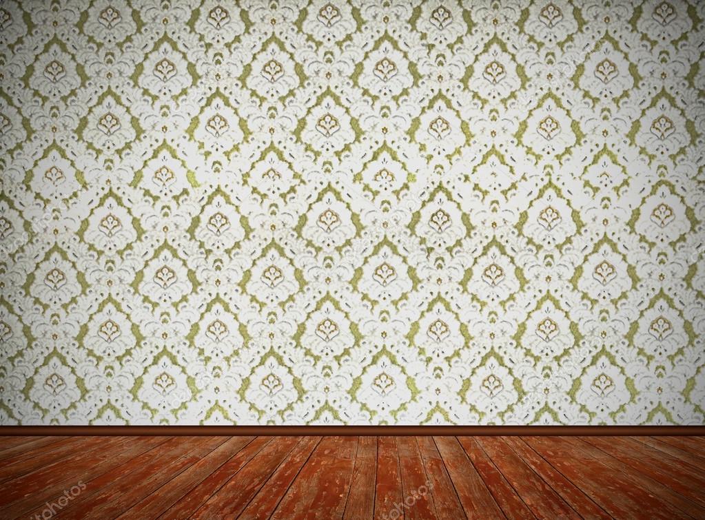 vintage raumgestaltung alte altmodischen floral tapete und weathere stockfoto susazoom. Black Bedroom Furniture Sets. Home Design Ideas