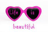 Gafas color de rosa - la vida es bella — Foto de Stock