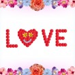 Floral valentines card - love — Stock Photo
