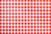Rural bavarian table cloth, red and white checkered, background — Stock Photo