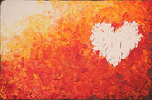 Heart on fire, acrylic painting — Stock Photo