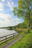 Lakeside of seehamer see, tourist resort, germany — Stock Photo