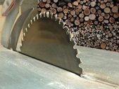 Circular saw against background of stacked firewood, working pla — Стоковое фото
