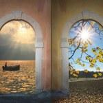 Collage four seasons - hiking path, garda lake, field, winter fo — Stock Photo #41211135