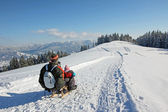 Father and son on the sleigh, bavarian mountains — Stock Photo