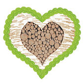 Birch tree heart with frame of linden leafs — Stock Photo