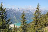 Birds eye view to achensee, austrian alps — Stock Photo