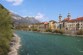 Famous oldtown innsbruck and river inn — Stock Photo