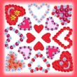 Collage of flower hearts, card design — Stock Photo #45073481