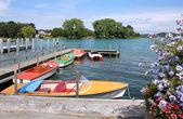 Moored boats rottach egern, lake tegernsee — Stock Photo