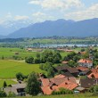 Idyllic bavarian landscape, village and zugspitze — Stock Photo