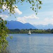 Idyllic lakeshore riegsee, bavarian foothills and alps — Stock Photo